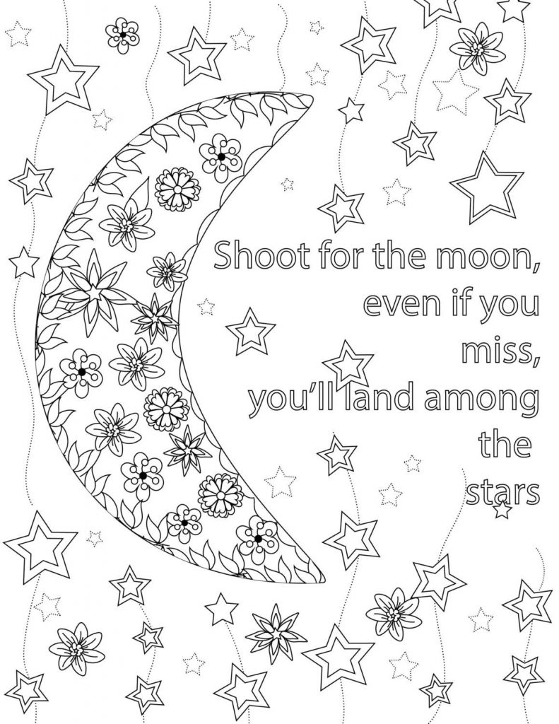 Moon Quote Coloring Page for TeensMoon Quote Coloring Page for Teens