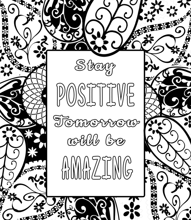 Positive Quote Coloring Pages