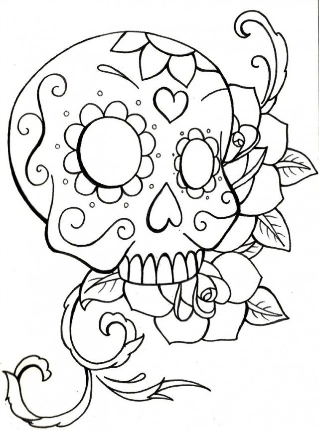 Print Sugar Skull Coloring Pages