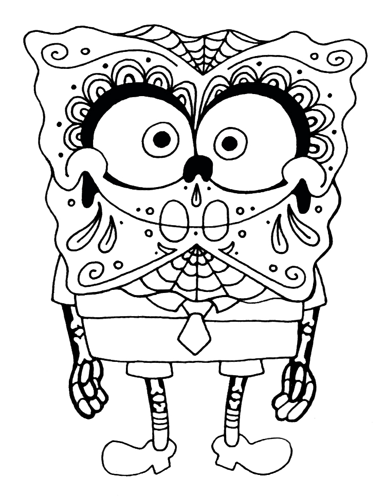 Sponge Bob Sugar Skull Coloring Pages