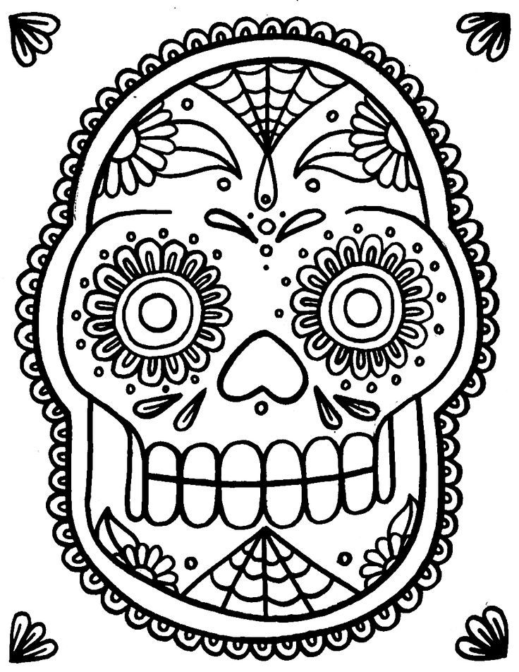 Teen Sugar Skull Coloring Pages