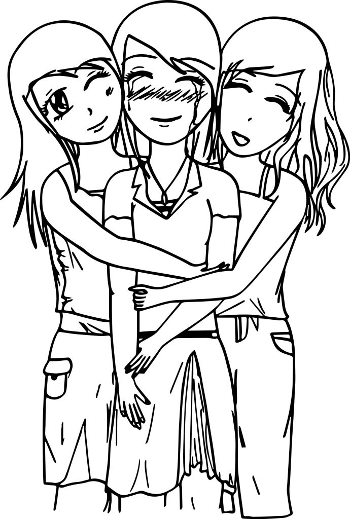 friends holding hands coloring pages - photo#35