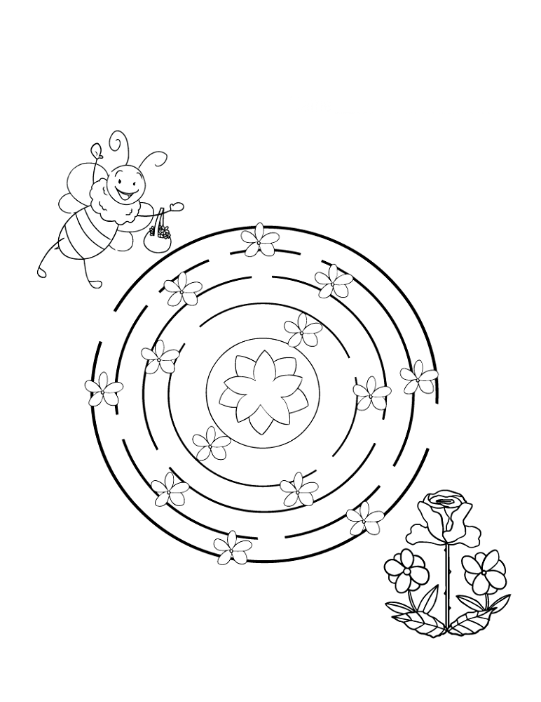Bee to Flower Easy Mazes
