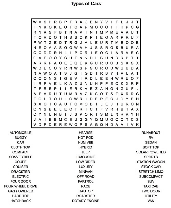 Cars - Printable Word Search