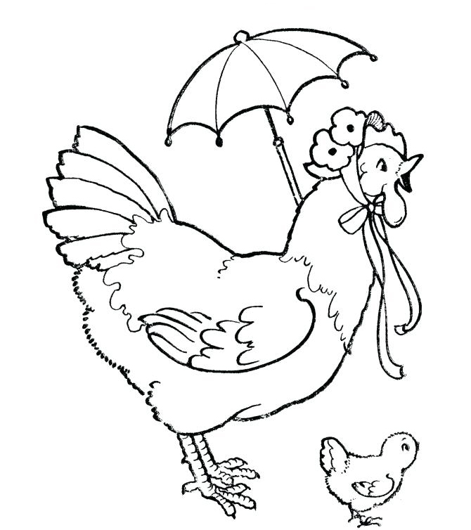 Hen and Baby Coloring Page