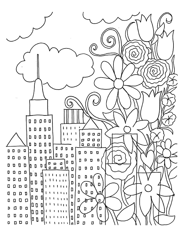 Mindfulness Coloring Page City