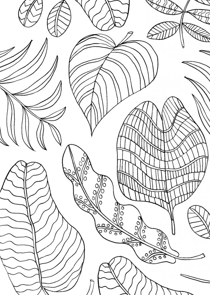 Mindfulness Coloring Pages Leaves