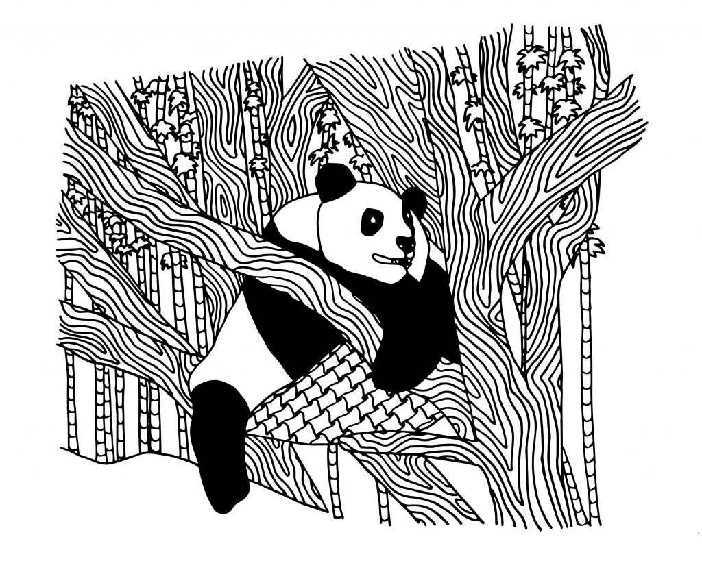Panda Bear in Tree Coloring Page