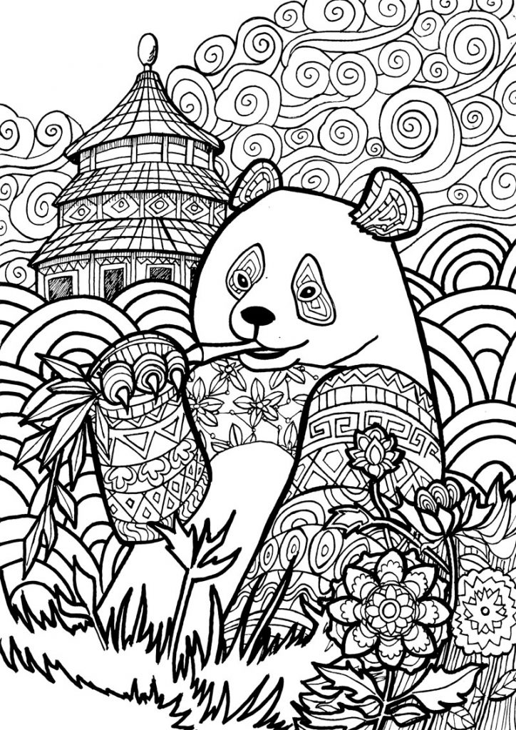 Panda Coloring Page for Adults