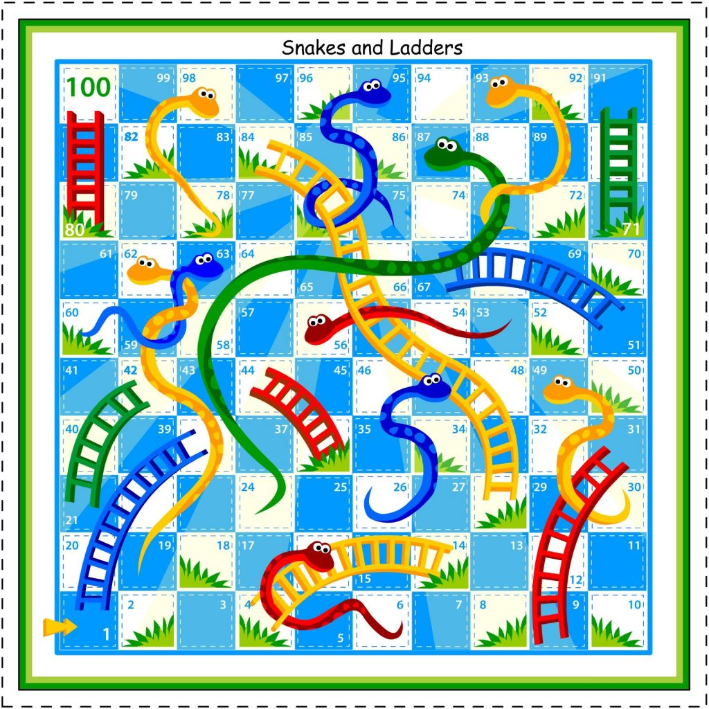 Printable Snakes and Ladders Board Game