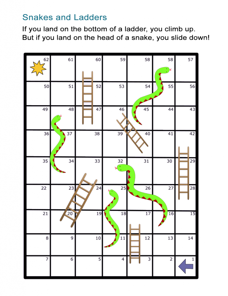 Printable Snakes and Ladders Simple Board Game