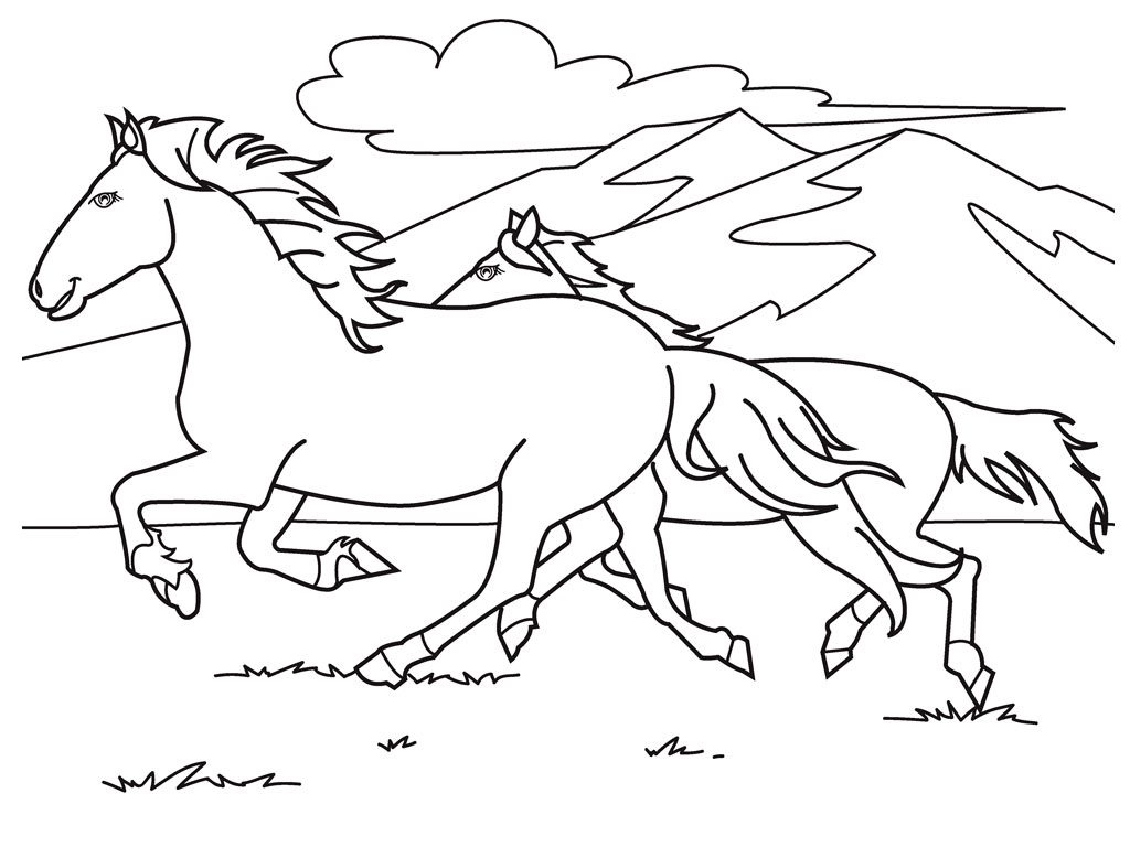Running Ponies Coloring Page