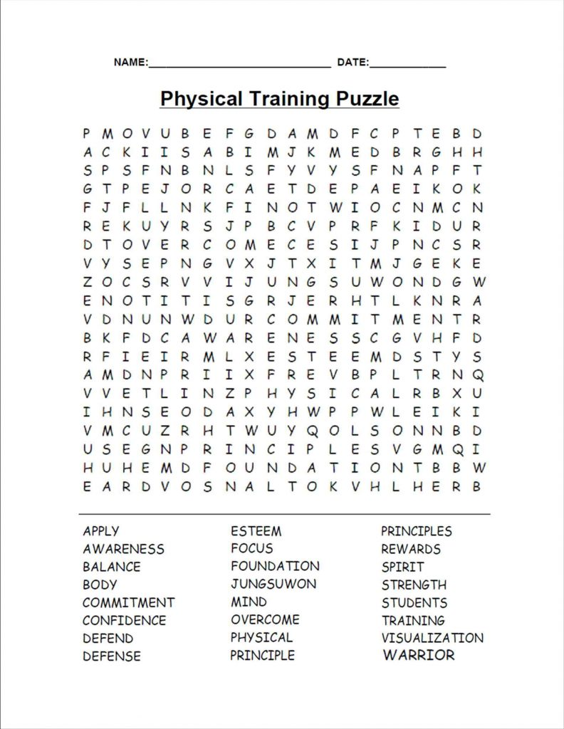 Training - Printable Word Search for Adults
