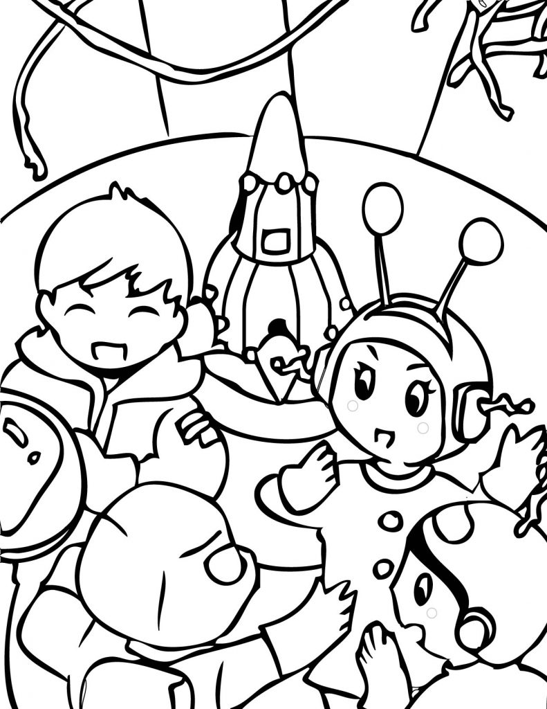 Alien Party Coloring Page