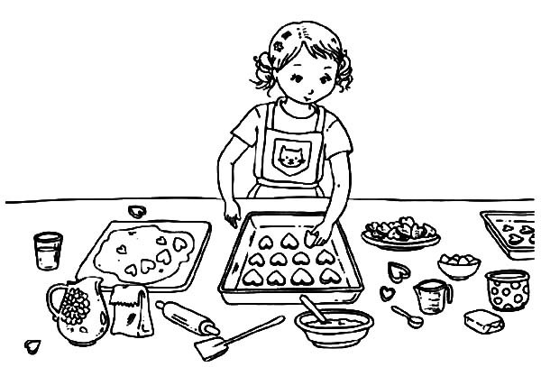 Baking Cookies Coloring Page Printable
