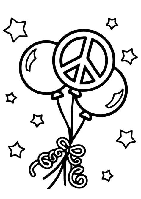 Balloons Peace Coloring Page