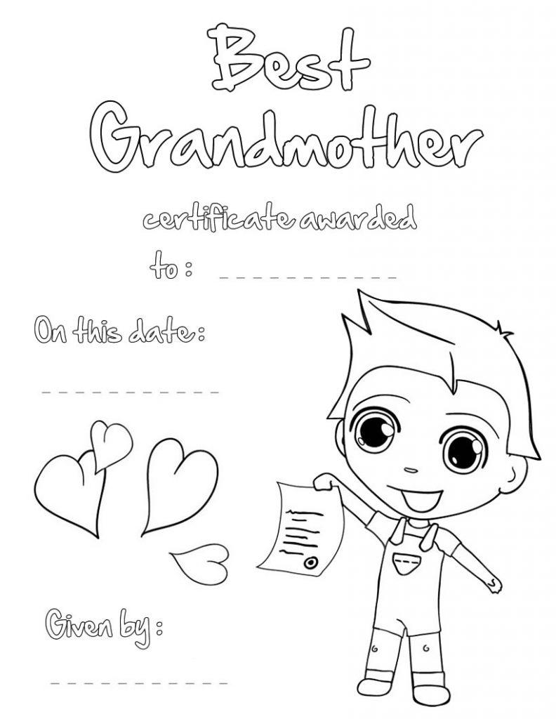 Best Grandmother Printable Certificate
