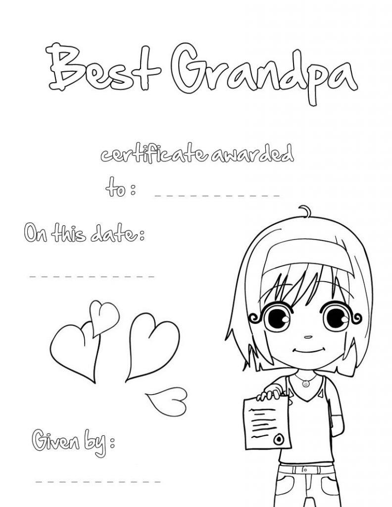 Best Grandpa Printable Certificate