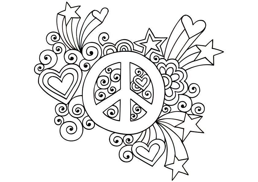 Doodle Peace Coloring Page