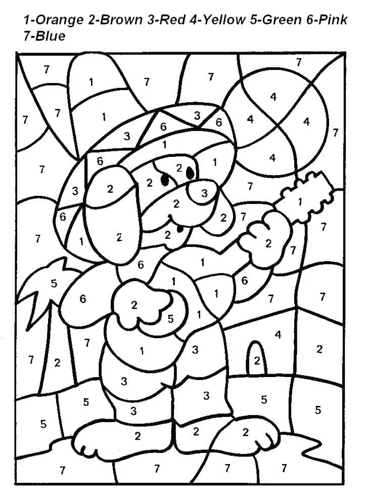 Free Color by Number Kindergarten