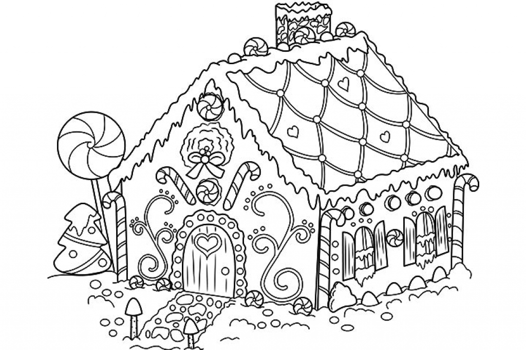 gingerbread house cookie coloring page