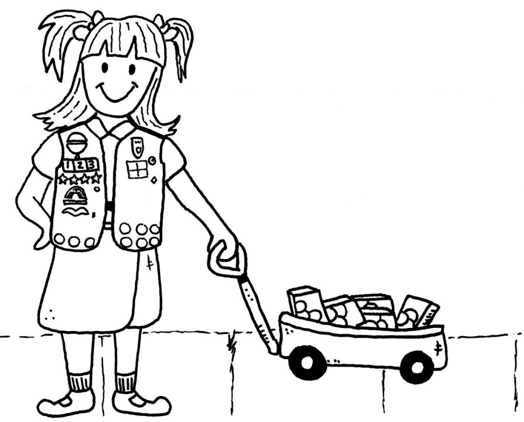 Girl Scout with Cookies Coloring Page