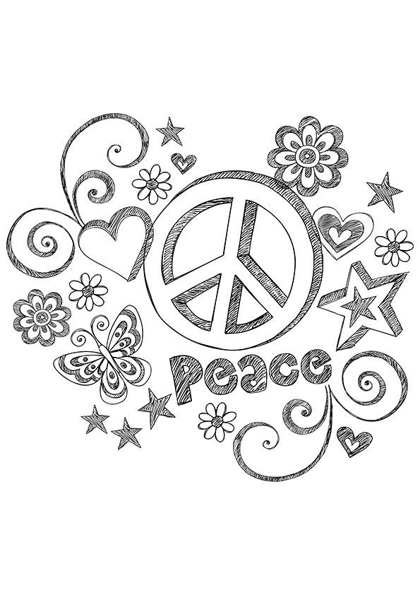 Grungy Peace Coloring Page