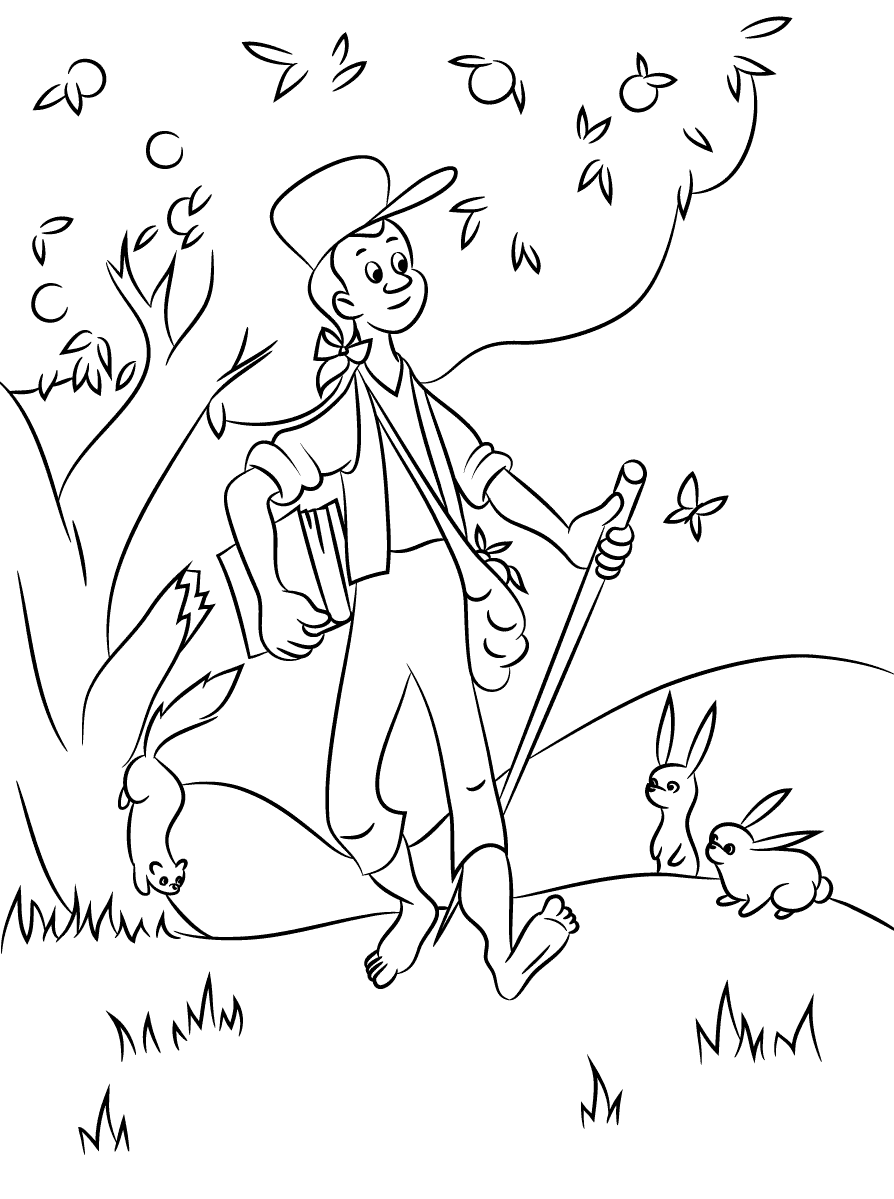 jonny appleseed coloring pages - photo#5