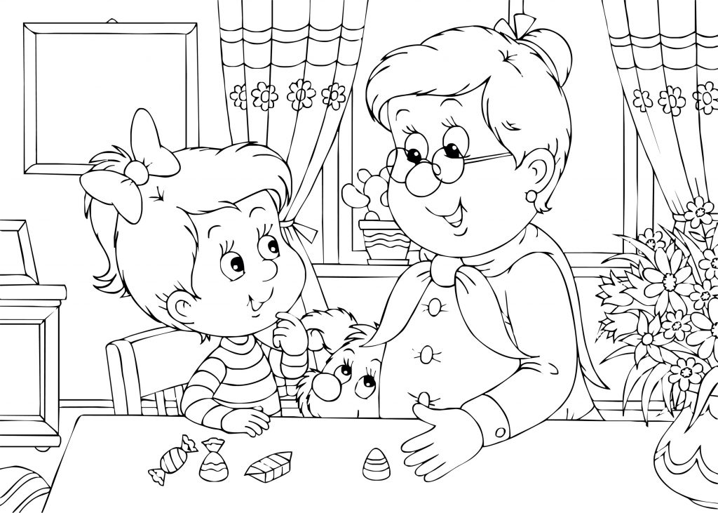 Me and Grandma Coloring Page
