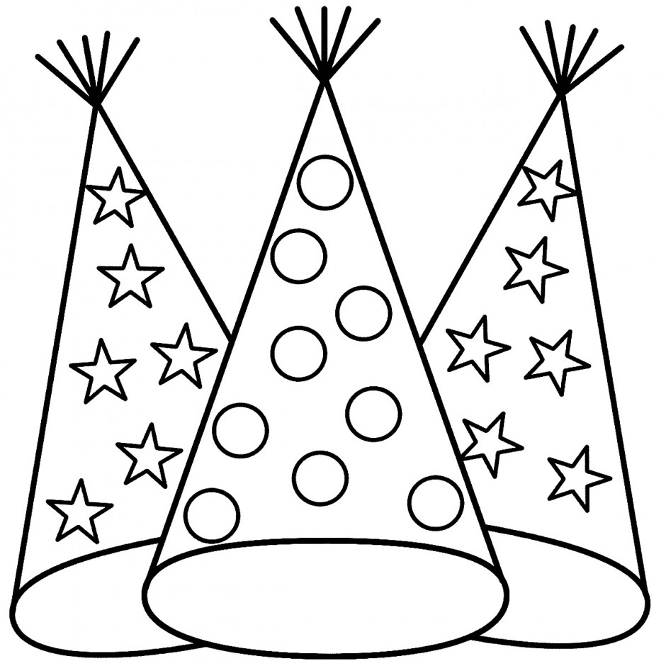 Party Hats Coloring Page