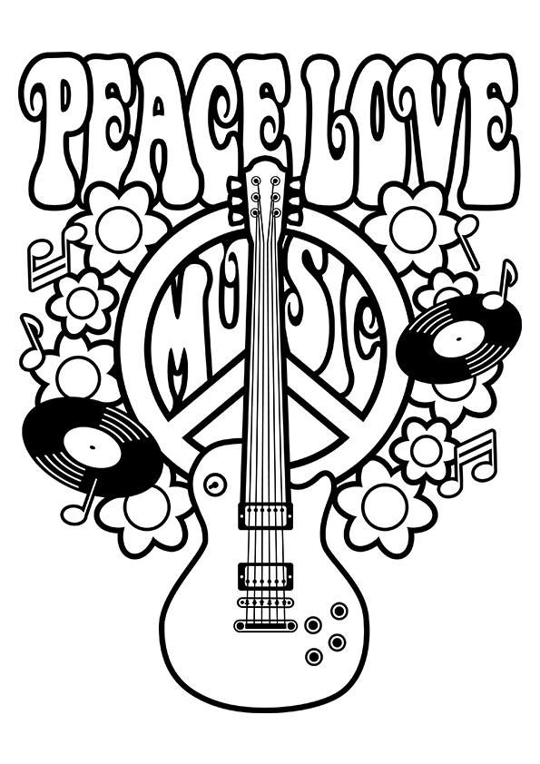Peace Love Music Coloring Page