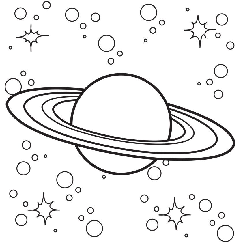 Saturn - Space Coloring Page