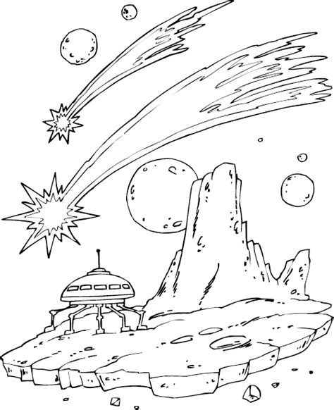 Space Ship Landing Coloring Page