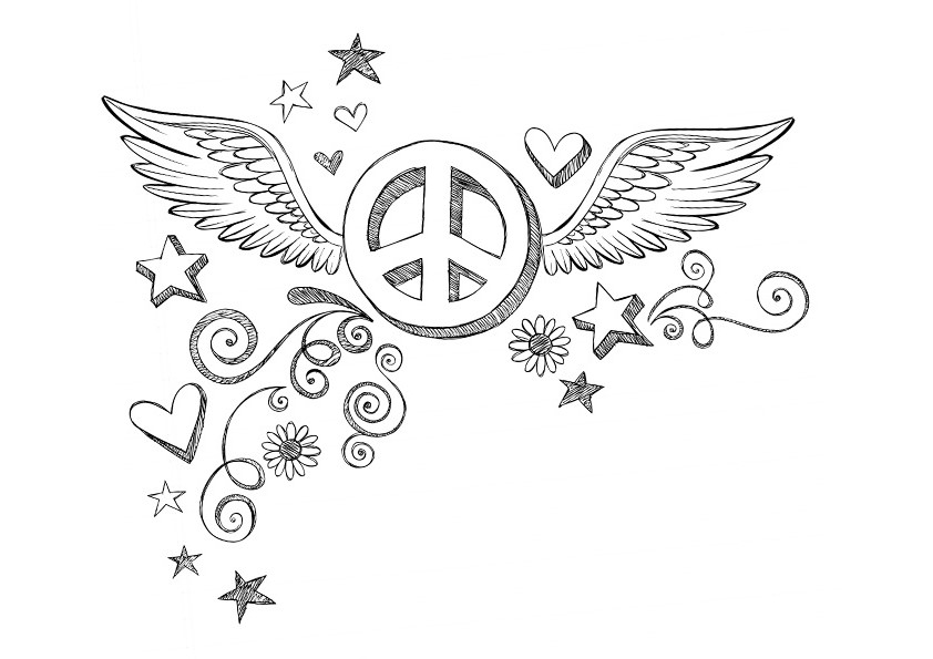 Tattoo Peace Coloring Page for Teens