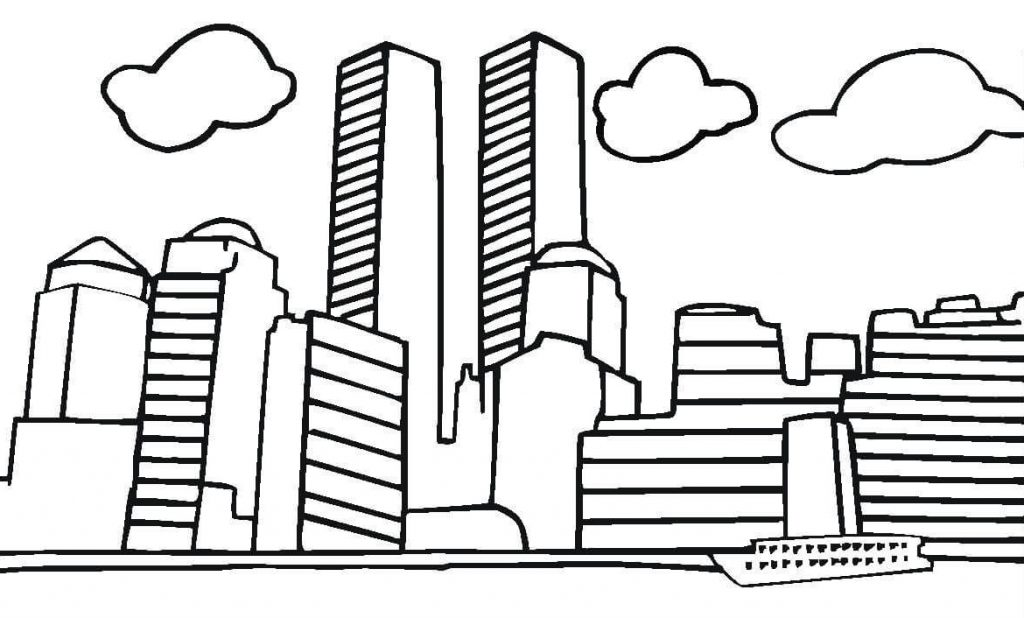 Twin Towers 9-11 Coloring Page