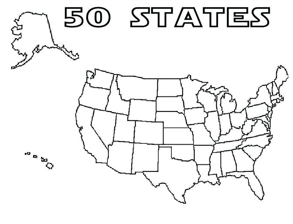 50 States Coloring Page