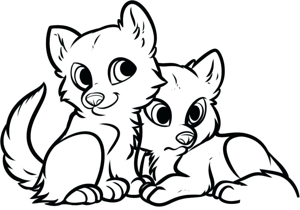 Baby Foxes Animal Coloring Pages