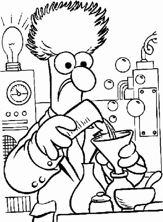 Beaker Muppet Show - Science Coloring Page