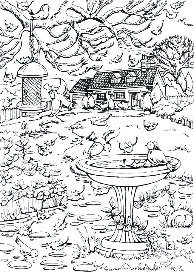 Beautiful Fall Yard Scene Coloring Page