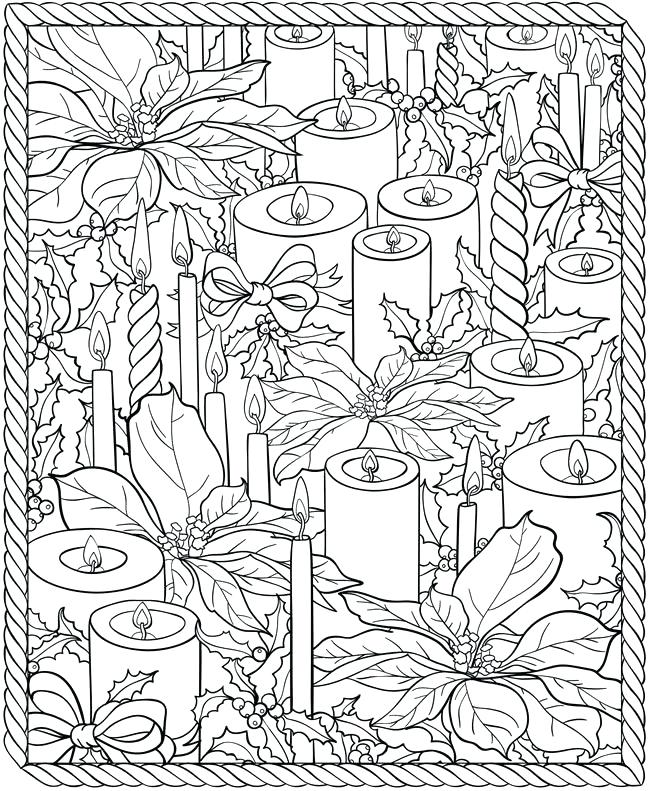 Candles Winter Coloring Pages for Adults