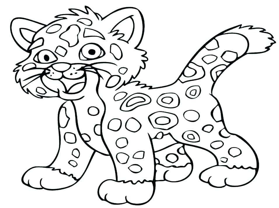 Cartoon Leopard Animal Coloring Page