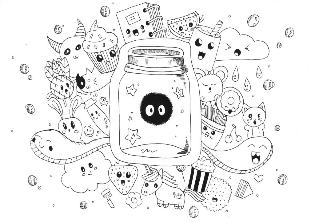 Complex Kawaii Coloring Pages