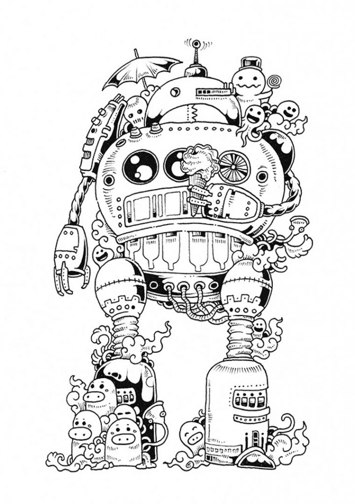 Complex Robot Coloring Pages