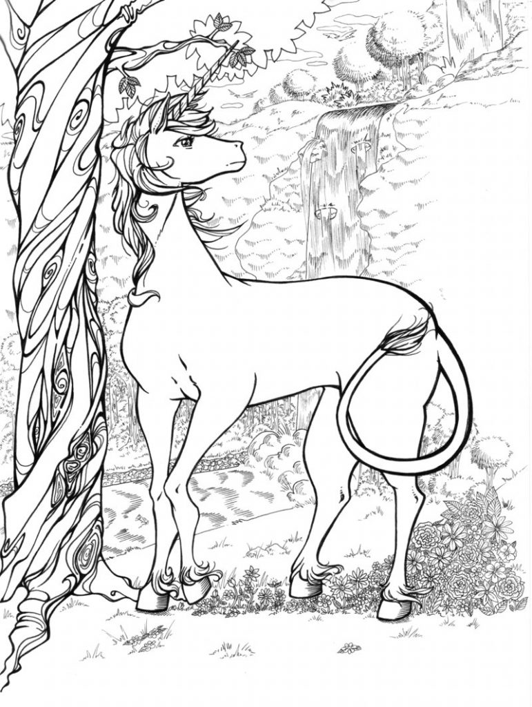 Complex Unicorn Coloring Page for Teens and Adults