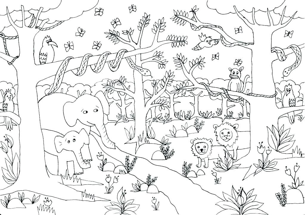 Cute Jungle Coloring Pages