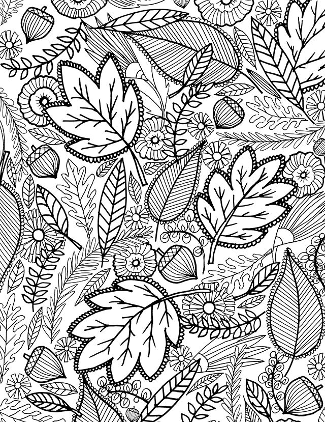 Fall Leaves Coloring Pages for Adults Hard
