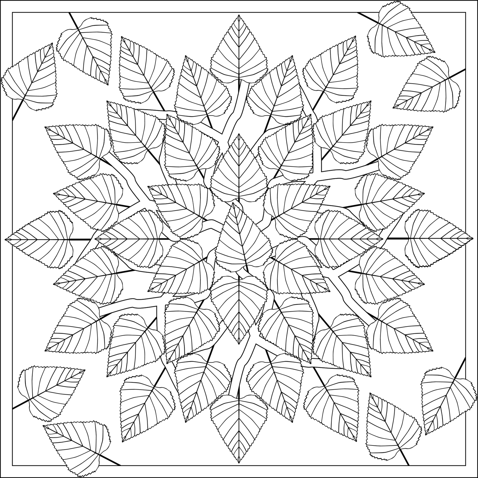 leaf coloring pages for adults - photo#24