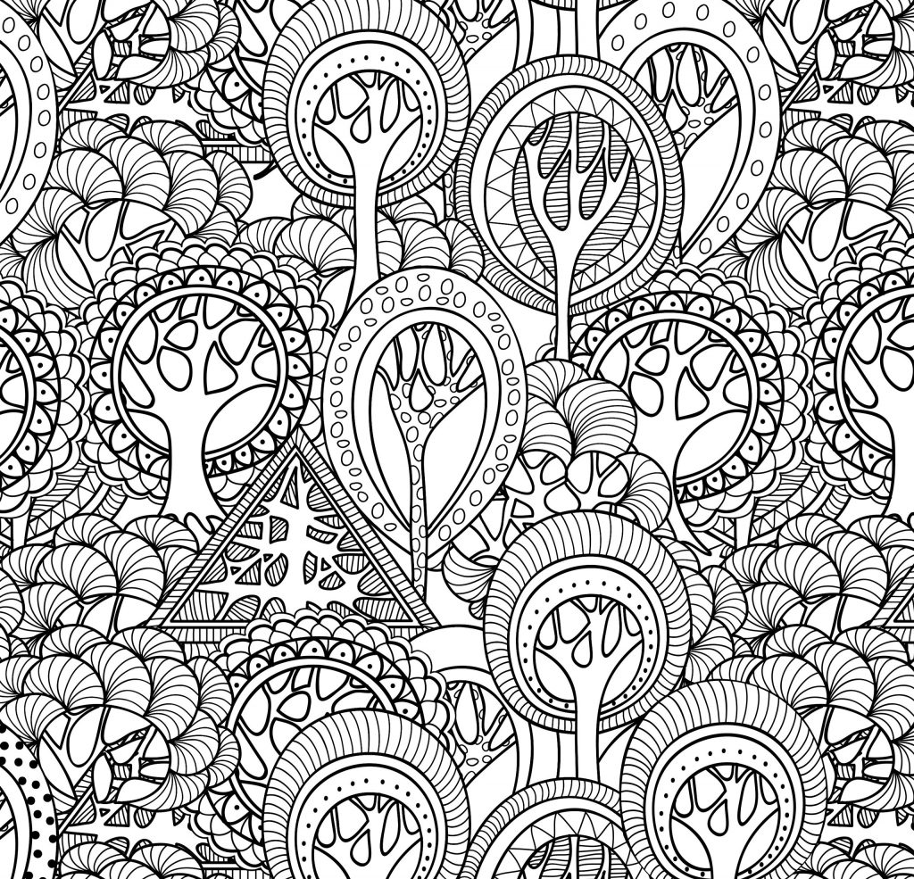 Fall Trees Pattern - Coloring Pages for Adults