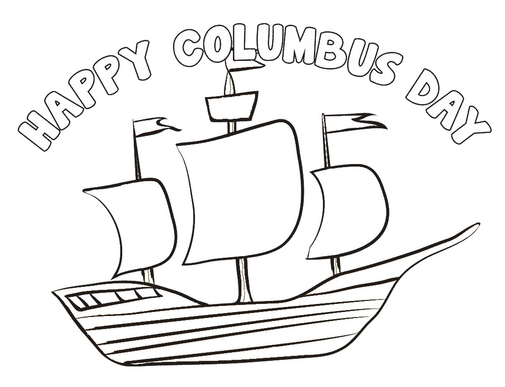 Happy Columbus Day Coloring Pages