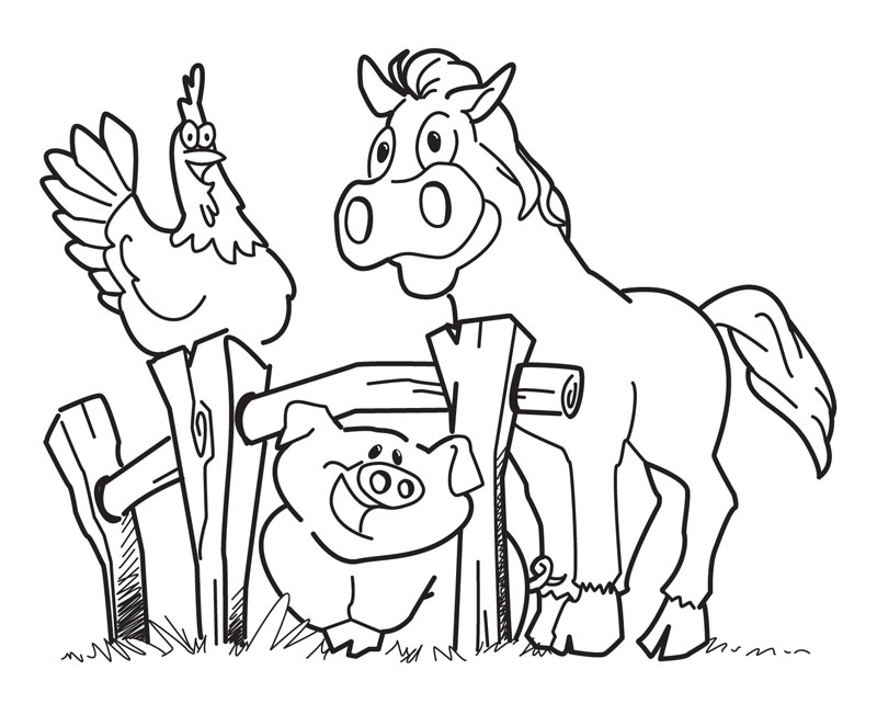 Horse Pig Chicken - Farm Coloring Pages